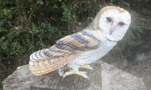 Paper mache barn owl with watercolors