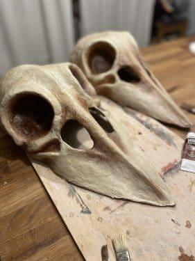 Paper mache crow skull masks