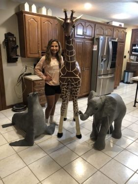 Three paper mache animals for a parade float fo