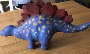 Paper mache stegosaurus
