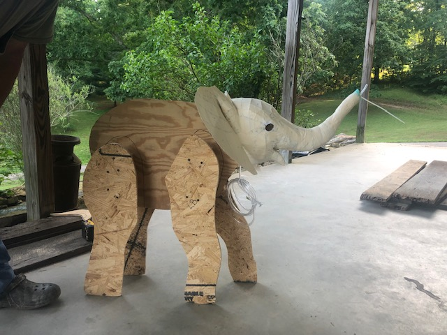 Armature for water-spraying paper mache elephant