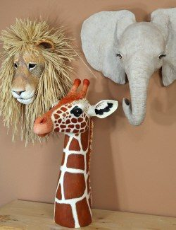 Paper Mache African Animal Pattern Set.