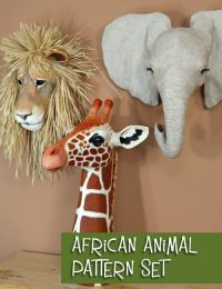 Three patterns for African animal sculptures and masks.