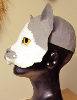 wearable paper mache helmet-style cat mask
