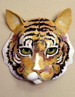 Cat Mask Painted with Abstract Colors for Wall Display