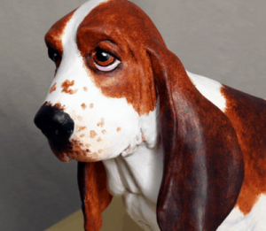 Basset hound made with paper mache clay