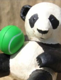 easy pattern for a paper mache baby panda sculpture.