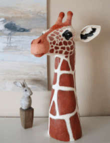 Paper mache giraffe pattern.