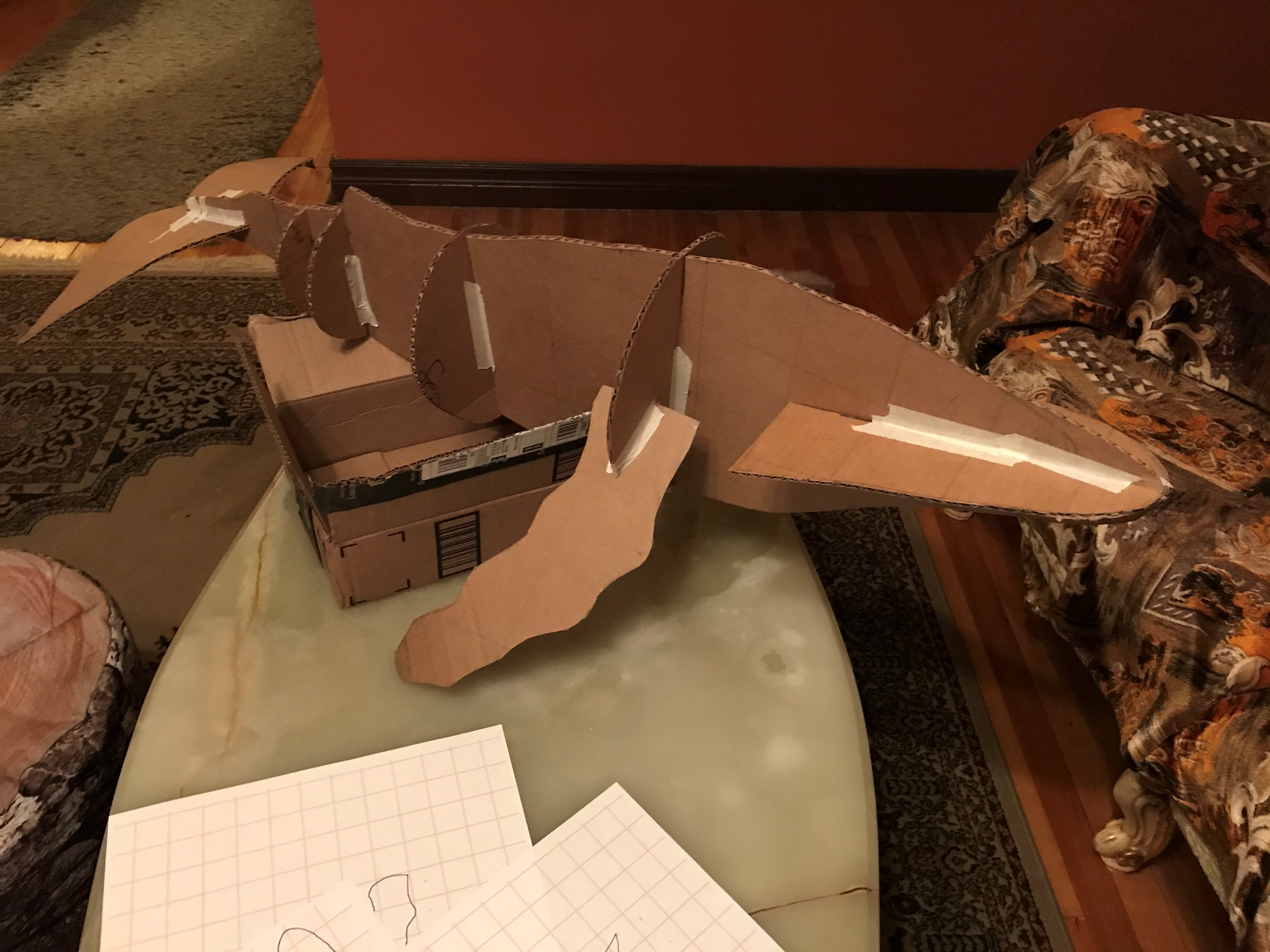 paper mache humpback whale, in progress